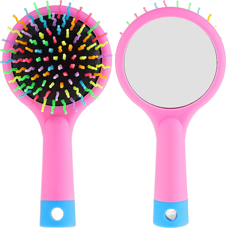 Haarbürste mit Speigel rosa - Twish Handy Hair Brush with Mirror Rose Pink — Bild N1