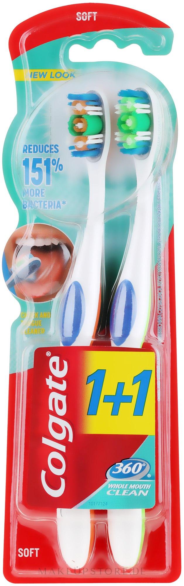Zahnbürste weich 360° Whole Mouth Clean orange, grün 2 St. - Colgate 360 Whole Mouth Clean Soft — Bild 2 St..