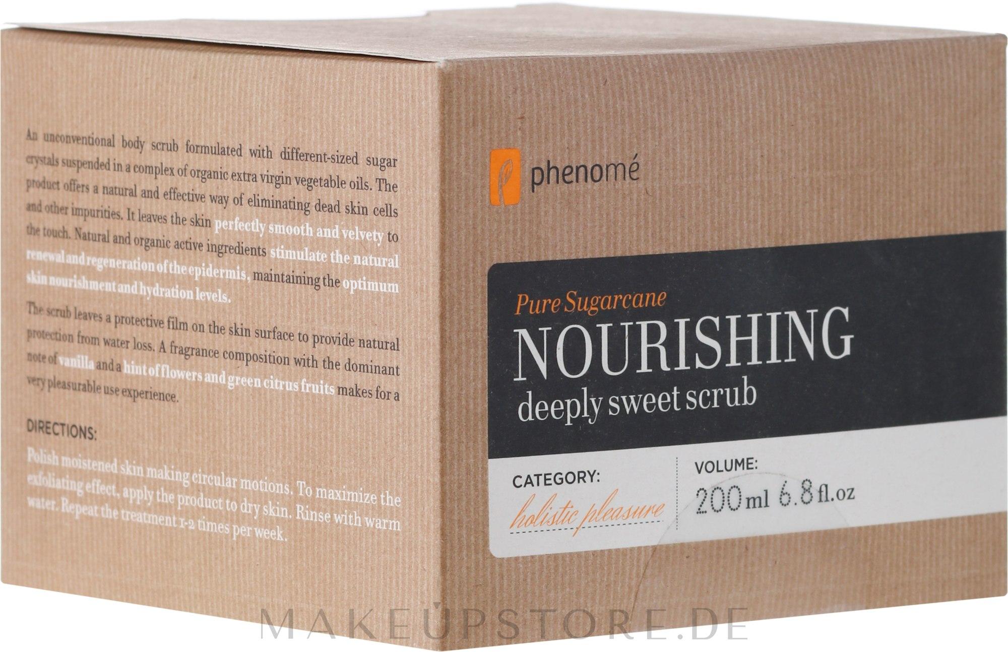 Glättendes Körperpeeling - Phenome Pure Sugarcane Nourishing Deeply Sweet Scrub — Bild 200 ml