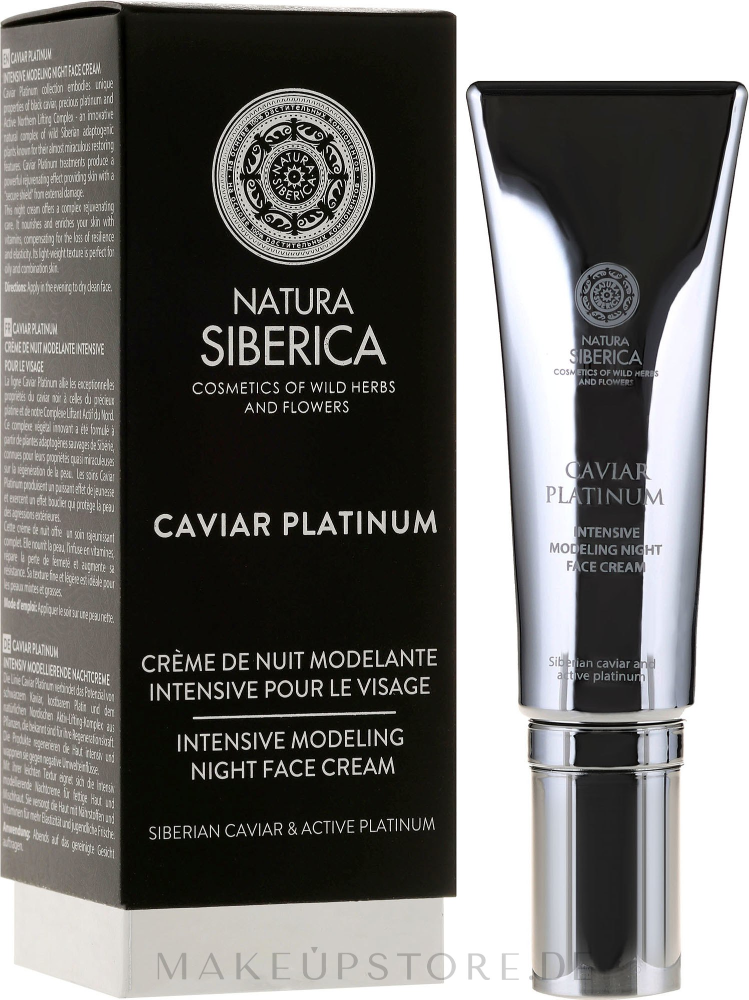 "Intensive modellierende Nachtcreme ""Anti-Tiefe-Falten"" - Natura Siberica Caviar Platinum — Bild 30 ml"