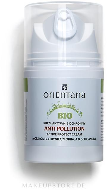 Aktiv schützende Gesichtscreme vor schädlichen und aggresiven Umwelteinwirkungen mit Moringa und Schisandra SPF 15 - Orientana Bio Active Protect Cream Anti Pollution Moringa & Schisandra — Bild 50 ml