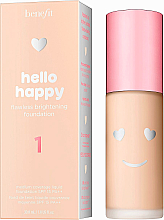 Düfte, Parfümerie und Kosmetik Aufhellende Foundation für ein makelloses Finish LSF 15 - Benefit Hello Happy Flawless Brightening Foundation SPF 15 PA++
