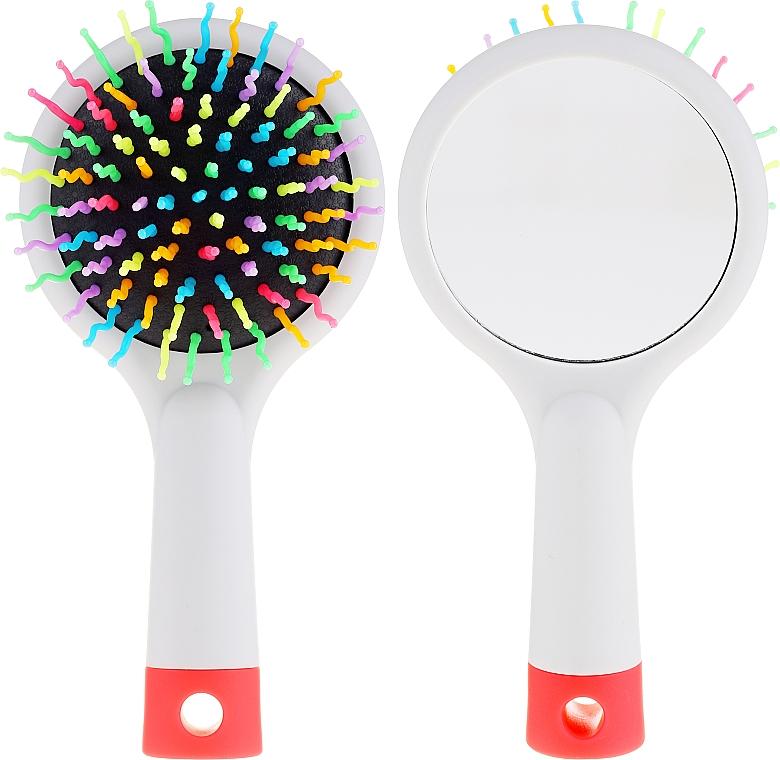 Haarbürste mit Speigel grau - Twish Handy Hair Brush with Mirror Light Grey — Bild N1