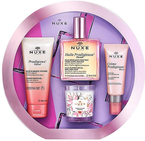 Gesichts- und Körperpflegeset - Nuxe Huile Prodigieuse Florale (Trockenes Öl 100ml + Duschgel 100ml + Gel-Creme 40ml + Duftkerze 70g)