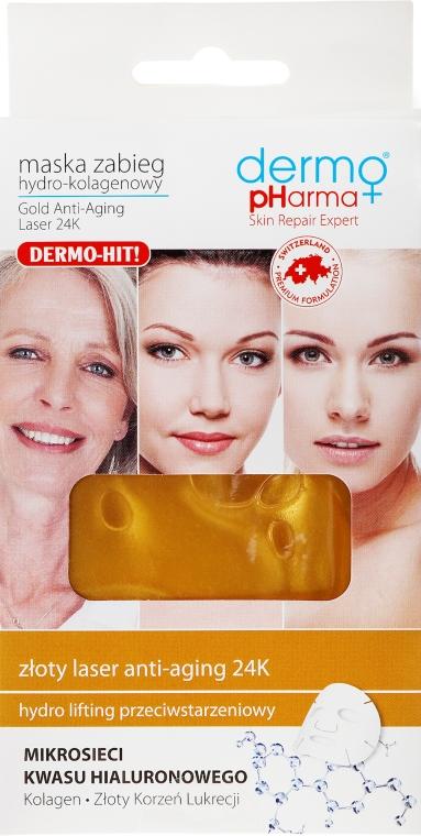 Feuchtigkeitsspendende und straffende Tuchmaske für das Gesicht mit Hyaluronsäure - Dermo Pharma Gold Anti-Aging Laser 24K