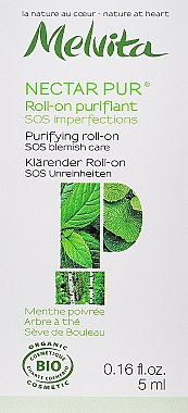 Klärender SOS Roll-on für unreine Haut mit Pfefferminzöl - Melvita Nectar Pur Roll-on purifiant SOS — Bild N1