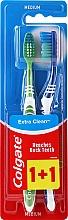 Düfte, Parfümerie und Kosmetik Zahnbürste mittel Extra Clean blau und grün 2 St. - Colgate Extra Clean Medium
