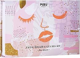 Düfte, Parfümerie und Kosmetik Gesichtspflegeset - Pibu Beauty Rose Quartz Facial Roller & Gua Sha Set (Massageroller)
