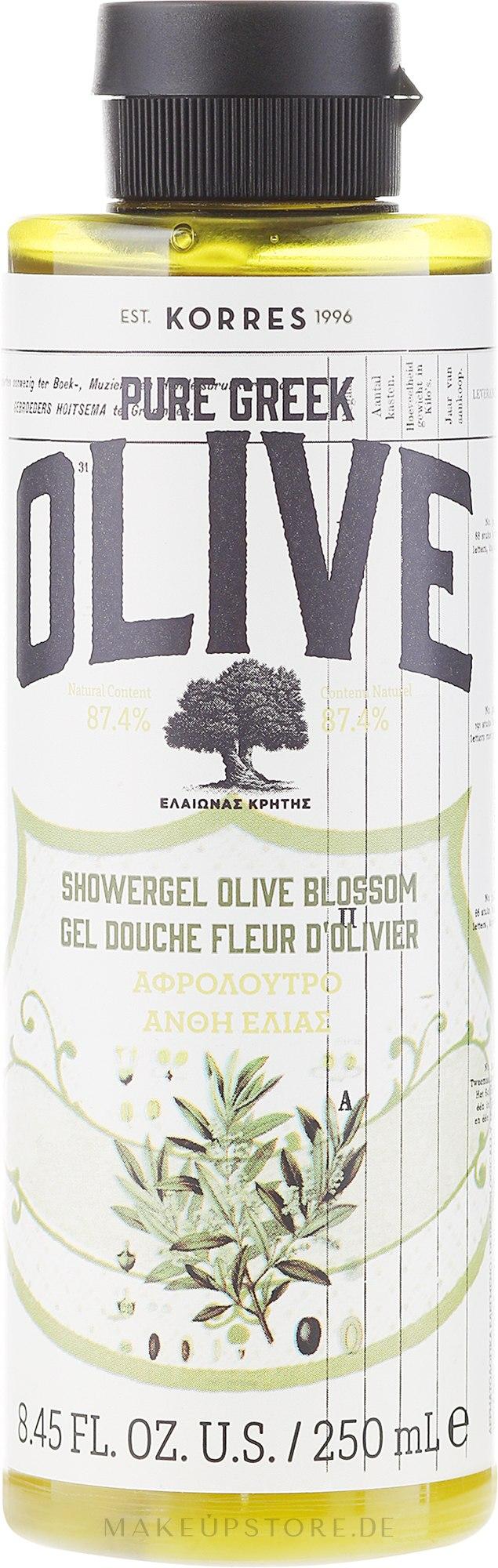 Straffendes Duschgel mit Olivenblattextrakt - Korres Pure Greek Olive Blossom Shower Gel — Bild 250 ml