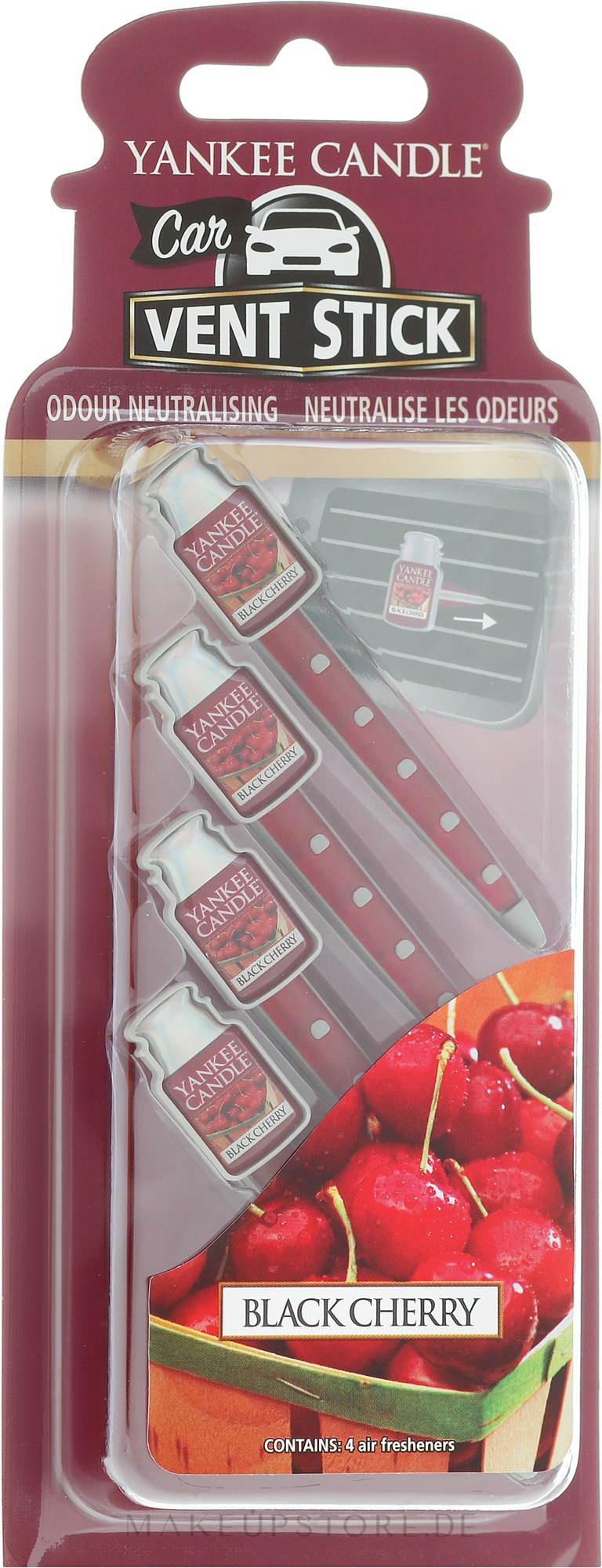 Auto-Lufterfrischer Black Cherry Duftstick - Yankee Candle Car Vent Stick Black Cherry — Bild 4 St..