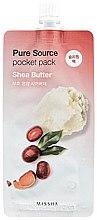 Düfte, Parfümerie und Kosmetik Feuchtigkeitsspendende Nachtmaske für das Gesicht mit Sheabutter - Missha Pure Source Pocket Pack Shea Butter