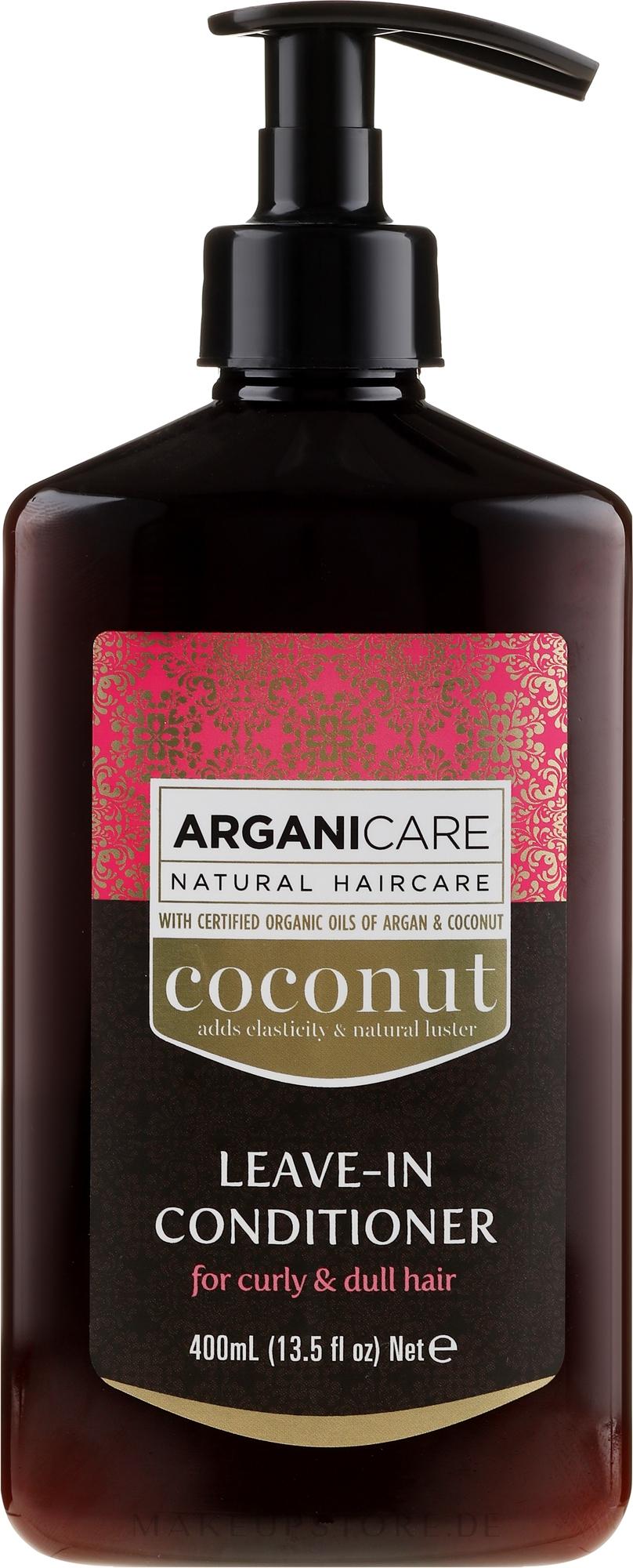 Haarspülung mit Kokosnuss- und Arganöl für lockiges und stumpfes Haar ohne Ausspülen - Arganicare Coconut Leave-In Conditioner For Curly & Dull Hair — Bild 400 ml