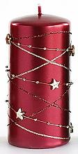 Düfte, Parfümerie und Kosmetik Dekorative Kerze burgundrot 7x10 cm - Artman Christmas Garland
