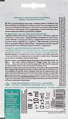 Gesichtsmaske mit grüner Tonerde und Chiaöl - Farmona Herbal Care Green Clay Face Mask — Bild N2