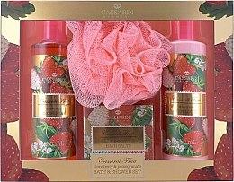 Düfte, Parfümerie und Kosmetik Badeset - Cassardi Fruit Strawberry And Pomegranate (Körperlotion 250ml + Duschgel 250ml + Badesalz 100g + Badeschwamm )