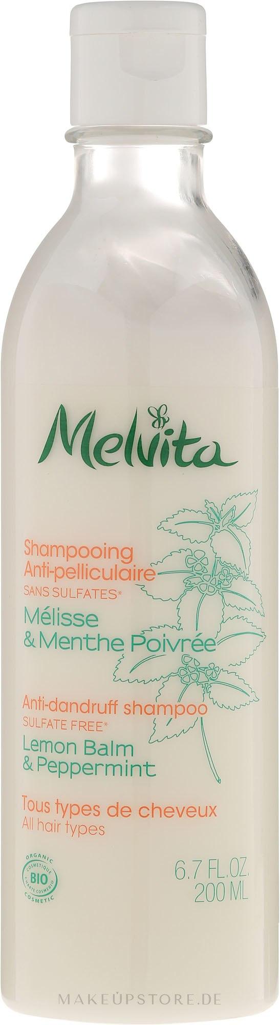 Anti-Schuppen Shampoo mit Zitronenmelisse und Pfefferminze - Melvita Anti-dandruff Shampoo — Bild 200 ml