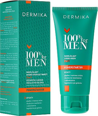 Feuchtigkeitsspendende Gesichtscreme - Dermika 100% For Men Powerstarter Moisturising Hydrocream 2 in 1 — Bild N1