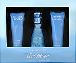 Düfte, Parfümerie und Kosmetik Davidoff Cool Water Woman - Duftset (Eau de Toilette 50ml + Körperlotion 50ml + Duschgel 50ml)