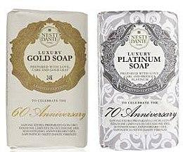 Düfte, Parfümerie und Kosmetik Naturseifen-Geschenkset Luxury Platinum & Gold - Nesti Dante Gift Set Vegetable Soaps Luxury Limited Edition (2x250g)