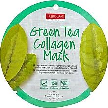 Düfte, Parfümerie und Kosmetik Feuchtigkeitsspendende und tonisierende Tuchmaske mit Grüntee-Extrakt, Kollagen und Vitamin E - Purederm Green Tea Collagen Mask