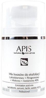 Fruchtsäurepeeling für Gesicht - APIS Professional Lacticion + Pirogron + Milk + Azelaine 40% — Bild N1