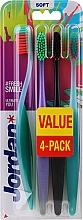 Düfte, Parfümerie und Kosmetik Zahnbürste weich Ultimate You grün-orange, violett-grün, schwarz-orange, grün-orange 4 St. - Jordan Ultimate You Soft Toothbrush