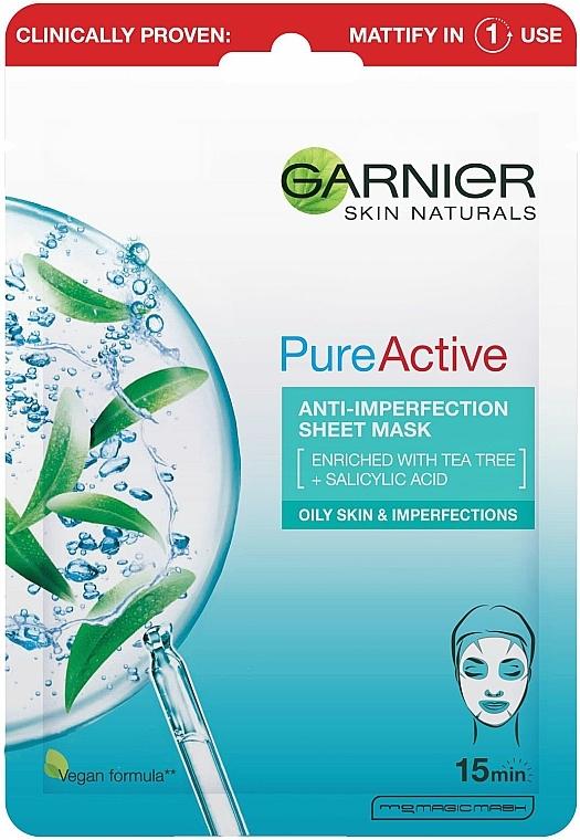 Tuchmaske für das Gesicht gegen Hautunreinheiten mit Teebaum und Salicylsäure - Garnier Skin Naturals Pure Active Anti-Impeffection Sheet Mask — Bild N1