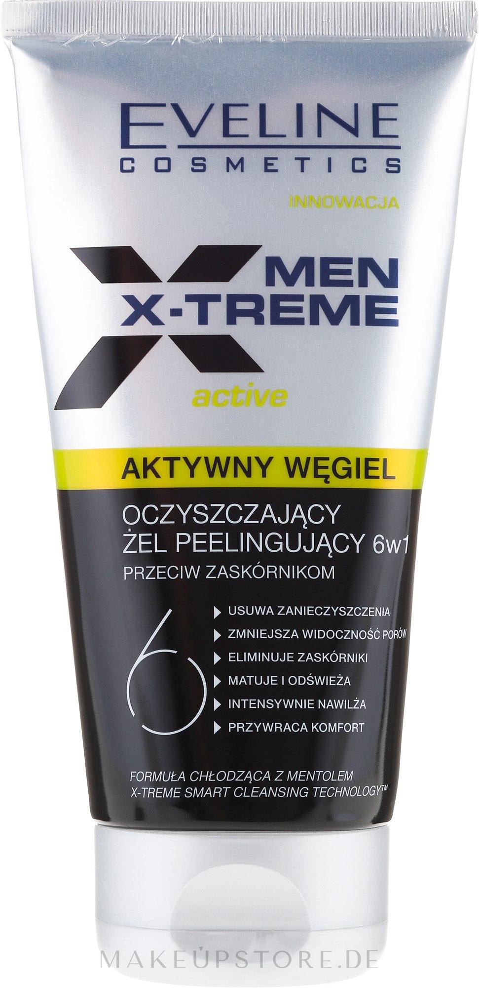 Reinigendes Gesichtspeeling-Gel gegen Mitesser mit Aktivkohle - Eveline Cosmetics Men X-treme Active Gel — Bild 150 ml