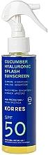 Düfte, Parfümerie und Kosmetik Feuchtigkeitsspendendes und kühlendes Sonnenschutzspray mit Hyaluronsäure und Gurkenextrakt SPF 50 - Korres Cucumber Hyaluronic Splash Sunscreen SPF50