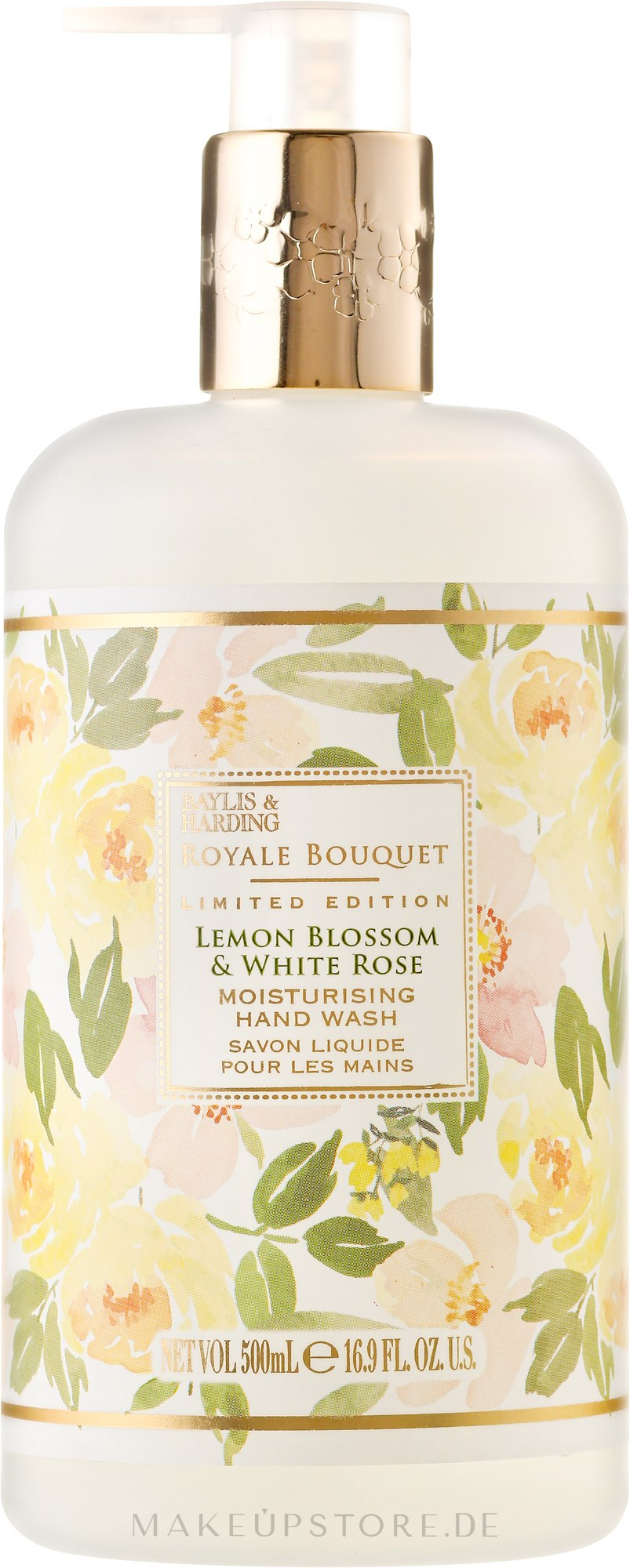 "Flüssige Handseife ""Schöllkraut"" - Baylis & Harding Royal Bouquet Lemon Blossom & White Rose Hand Wash — Bild 500 ml"