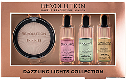 Düfte, Parfümerie und Kosmetik Highlighter-Set - Makeup Revolution Dazzling Lights Collection (Highlighter/11ml + Highlighter/11ml + Highlighter/11ml + Kompakt-Highlighter/18g)