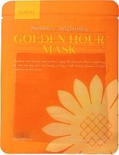 Düfte, Parfümerie und Kosmetik Aufhellende Tuchmaske mit Zitronenextrakt, Sonnenblumen- und Nachtkerzenöl - Elroel Golden Hour Mask Sunflower Brightening