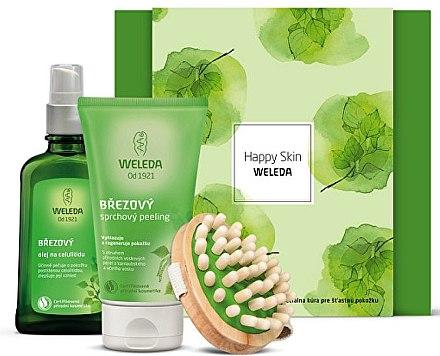 Körperpflegeset - Weleda Happy Skin (Anti-Cellulite Körperöl 100ml + Bitteres Körperpeeling 150ml + Holz-Massagebürste) — Bild N1