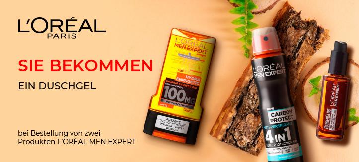 Bei Bestellung von zwei Produkten L'Oreal men expert bekommen Sie ein Duschgel, als Geschenk von uns