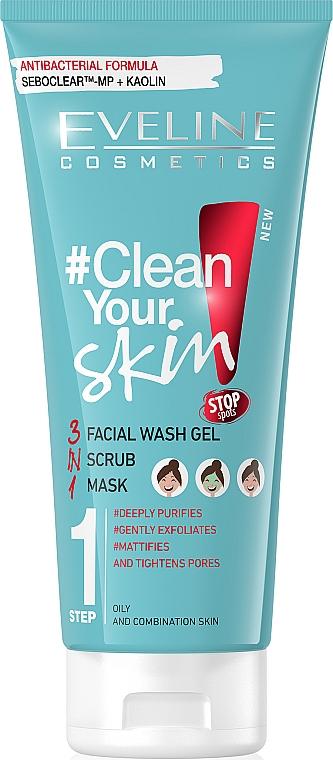 3in1 Gesichtsreinigung Waschgel + Peeling + Maske - Eveline Cosmetics #Clean Your Skin Facial Wash Gel + Scrub + Mask — Bild N1