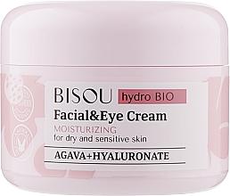 Düfte, Parfümerie und Kosmetik Feuchtigkeitsspendende Gesichts- und Augencreme für trockene und empfindliche Haut mit Hyaluronsäure und Agave - Bisou Hydro Bio Facial Eye Cream
