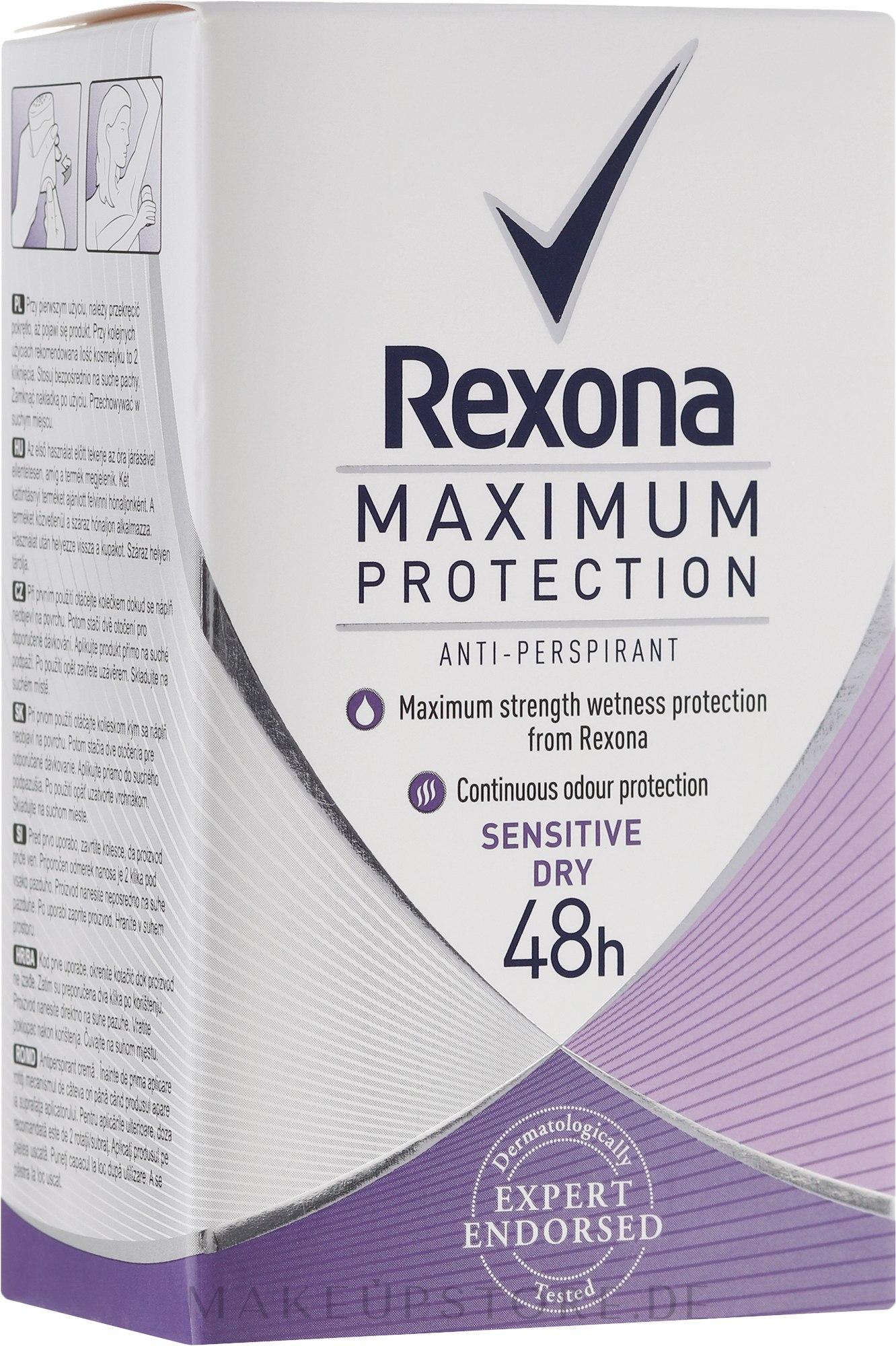 Deostick Antitranspirant - Rexona Maximum Protection Sensitive Dry — Bild 45 g