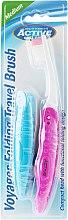 Düfte, Parfümerie und Kosmetik Klappbare Reisezahnbürste mittel rosa, blau 2 St. - Beauty Formulas Voyager Active Folding Dustproof Travel Toothbrush Medium