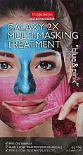 Düfte, Parfümerie und Kosmetik Peel-Off-Maske mit funkelnden Glitzern und Diamantpulver - Purederm Galaxy Multi Masking Treatment Blue & Pink (blau für die T-Zone und rosa für die U-Zone)