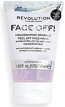 Düfte, Parfümerie und Kosmetik Feuchtigkeitsspendende, beruhigende und antioxidative Peel-Off Gesichtsmaske mit Jasminextrakt und Hyaluronsäure - Revolution Skincare Face Off! Holographic Sparkle Peel Off Face Mask