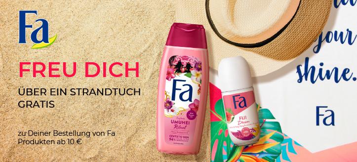 Bei einer Bestellung von Fa Produkten ab 10 € erhältst Du ein Strandtuch geschenkt
