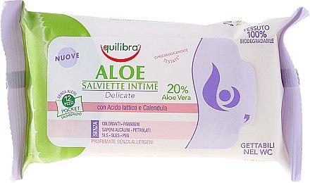 Hypoallergene Intim-Pflegetücher mit Aloe Vera 12 St. - Equilibra Aloe Intimate Wipes — Bild N1