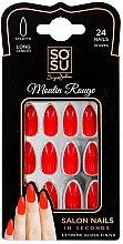 Düfte, Parfümerie und Kosmetik Set Künstliche Nägel 24 St. - Sosu by SJ False Nails Long Stiletto Moulin Rouge