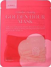 Düfte, Parfümerie und Kosmetik Festigende Tuchmaske mit Kamelienblütenextrakt, Kamelienöl und Kirschblüte - Elroel Golden Hour Mask Camellia Firming