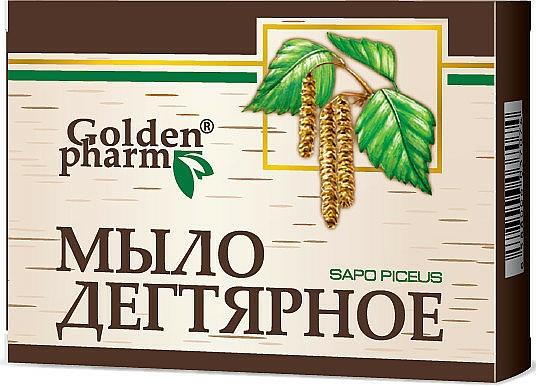 Birkenteerseife gegen Hautakne, Ekzeme und Schuppen - Golden Pharm Birch Tar Soap — Bild N1