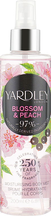 Feuchtigkeitsspendender parfümierter Körpernebel - Yardley Blossom & Peach Moisturising Fragrance Body Mist — Bild N1