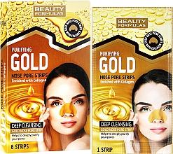 Düfte, Parfümerie und Kosmetik Porenverfeinernde Mitesser-Pflaster für Nase mit Kollagen - Beauty Formulas Purifying Gold Nose Pore Strips