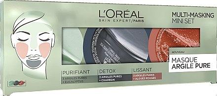Gesichtsmasken-Set - L'Oreal Paris Skin Expert Pure Clay Multi-Masking Mini Set (Gesichtsmaske 3x10ml) — Bild N1