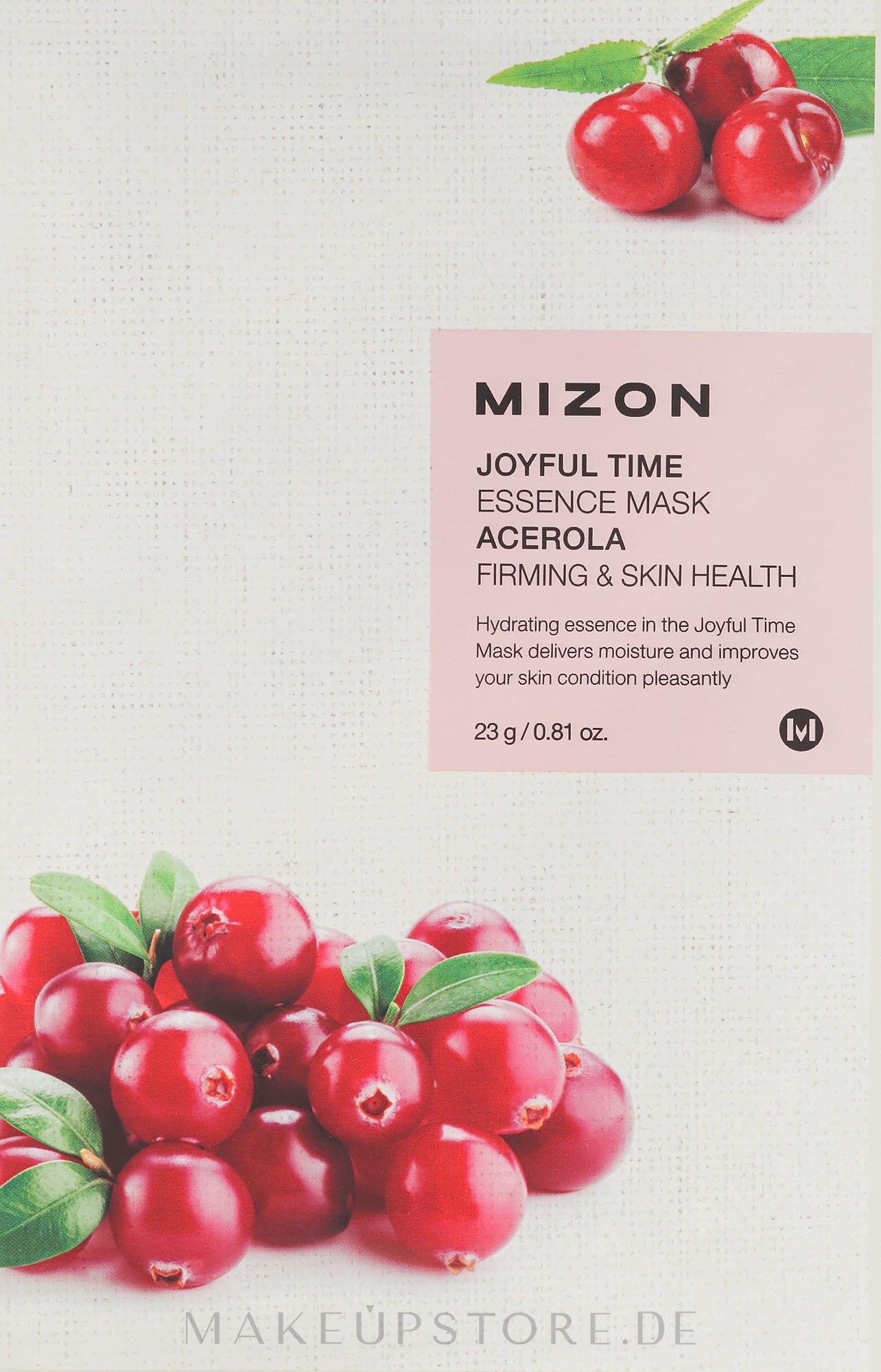 Straffende und heilende Tuchmaske für das Gesicht mit Acerola - Mizon Joyful Time Essence Mask Acerola — Bild 23 g