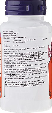 Hyaluronsäure 100 mg 120 Kapseln - Now Foods Hyaluronic Acid 100 mg — Bild N2
